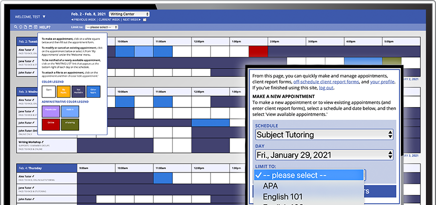 Screenshots of WCONLINE Schedule Overview and Mobile Interface