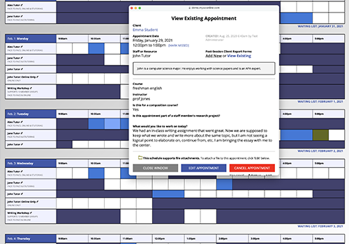 Screenshot of WCONLINE's appointment form.
